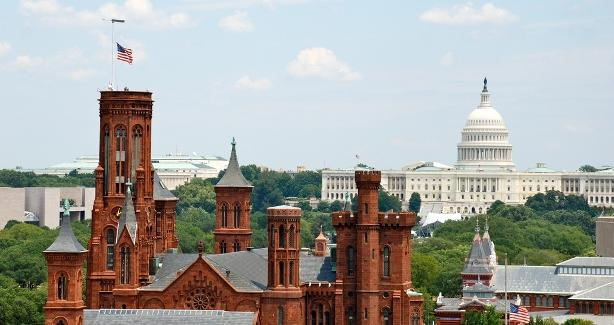 DC landscape with Smithsonian and the Capitol in the background