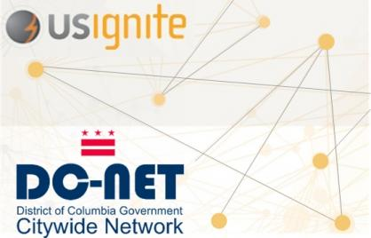 US Ignite and DC-Net logos with a line connecting dots