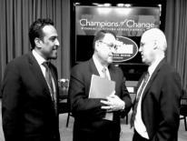 Tegene Baharu, Larry Strickland Assistant Secretary US Department of Commerce (left) and Dave Lambert Internet2 CEO